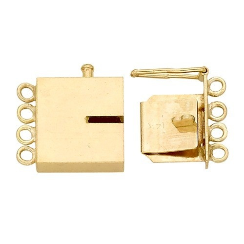14K Yellow Rectangle Closed Top Clasp W/ Link