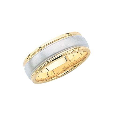 14K Gold 2-Tone Wedding Band W/ Milgrain Edges & Brushed Center 7 Mm