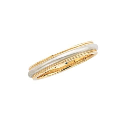 14K 2-Tone Gold Wedding Band Brushed Finish Center Milgrain Edge 4 Mm