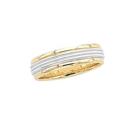 14K 2-Tone Gold Wedding Band W/ Triple Milgrain Center 6 Mm