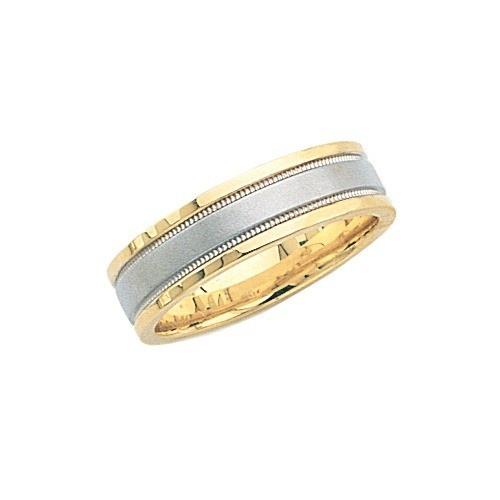 14K Gold 2-Tone Wedding Band W/ Brushed & Milgrain Center 6 Mm