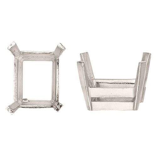 14K White Heavy Off-Square Setting W/ Flat Prongs