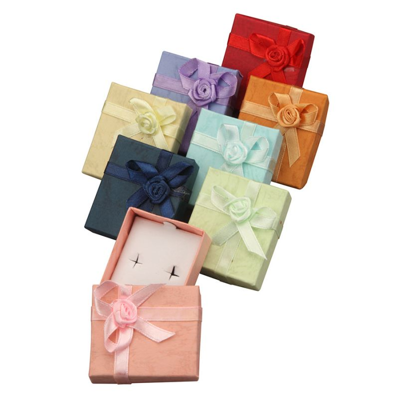 Ribbon Collection Floral Detail Stud Earring Box In Assorted Colors