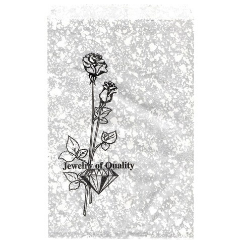 Silver Travertine-Print Paper Gift Bags W/Stamp