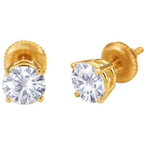 14K Yellow 4-Prong Double Wire Screw Earrings By Vicky k
