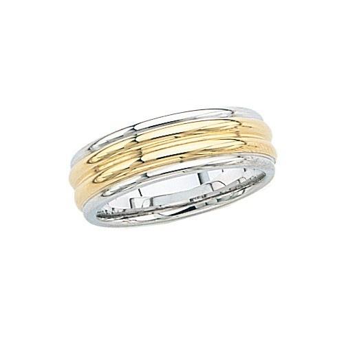 14K 2-Tone Gold Wedding Band 7 Mm