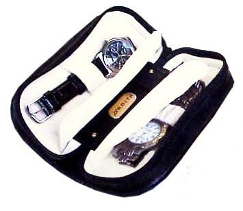 "Orbita ""Verona"" 2-Watch Travel Folders In Black Leather"
