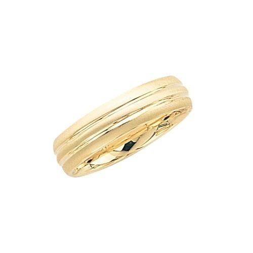 14K Yellow Gold Wedding Band W Alternating Brushed & Shiny Finish 6 Mm