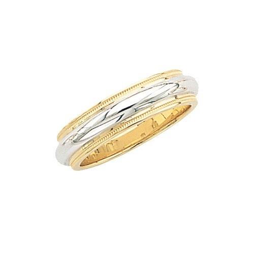 14K Gold 2-Tone Wedding Band W/ Milgrain 6 Mm