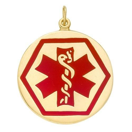 14K Yellow Medic Aid Medallion, 25.2 Mm