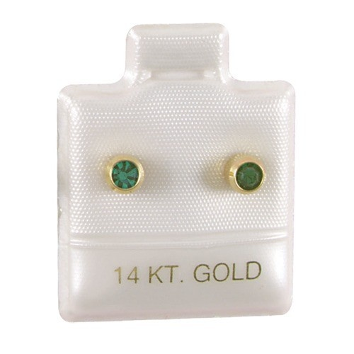 """White '14K Gold' Puffed Display Cards For Stud Earrings (Pk/100), 1"""" L X 1"""" w"""