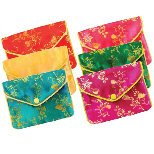 """Zippered Pouches In Assorted Brocades, 2.5"""" L X 2"""" w"""