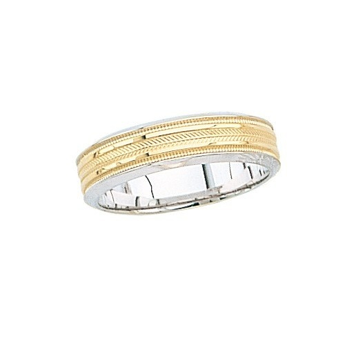 14K 2-Tone Gold Wedding Band W/ Triple Milgrain 6 Mm