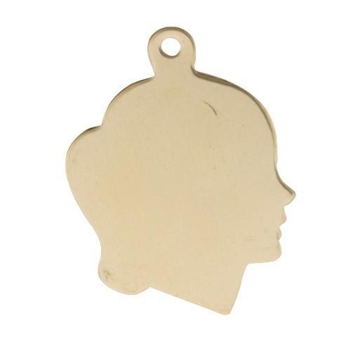 14k Yellow Silhouette Girl Head Profile, Charm
