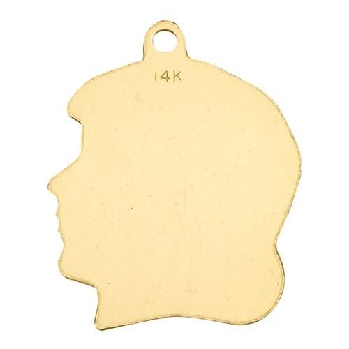 14K Yellow Girl Head Profile Charm