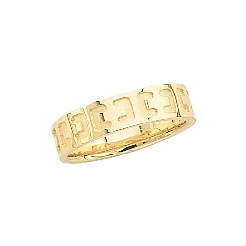 14K Yellow Gold Wedding Band W/ Design 5.5 Mm