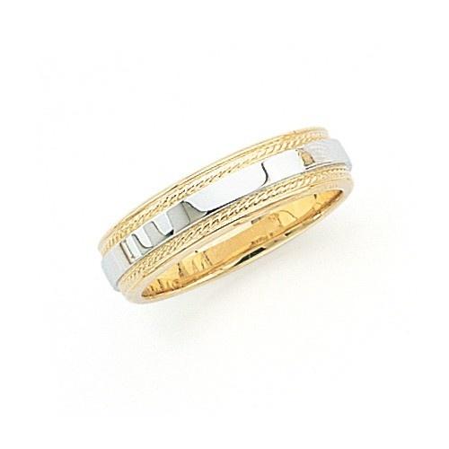 14K Gold 2-Tone Wedding Band W/ Milgrain Edges 5 Mm