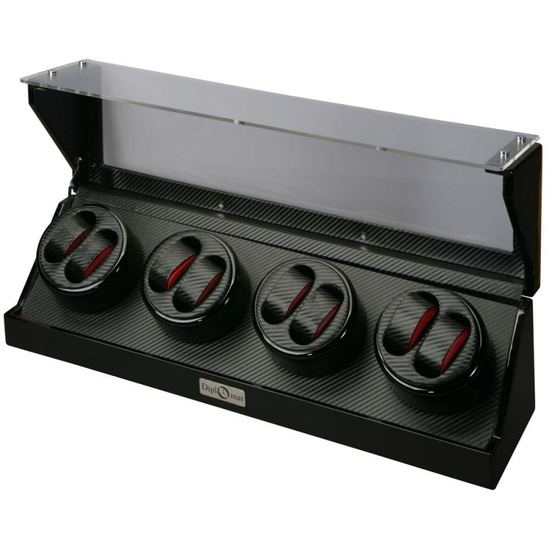 """Diplomat """"gothica"""" 8-watch Winder In Bold Black & Red"""