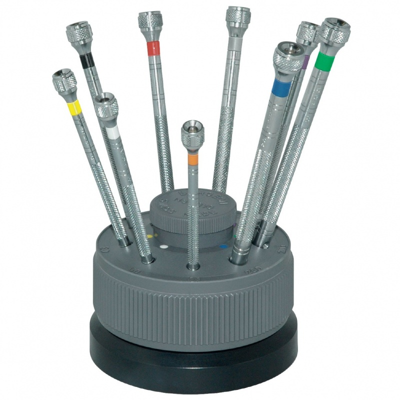 Bergeon 9-piece Flat Screwdriver Sets On Rotating Stand #5970