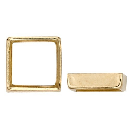 14K Yellow Square Bezel Non-Faceted Stone