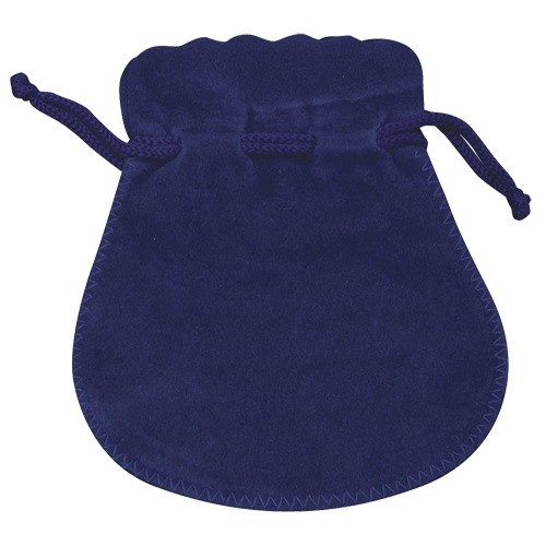 Microsuede Pouches W/Exposed Drawstring In Dark Blue