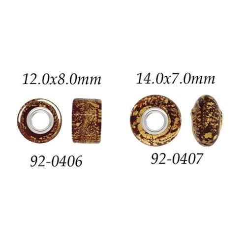 Gold & Ruby Glass Wheel Bead W/ Grommets