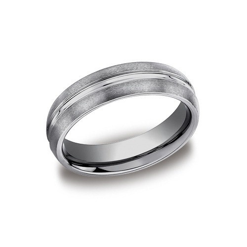 Tungsten Satin Finished Wedding Band With Polished Center Trim 6 Mm