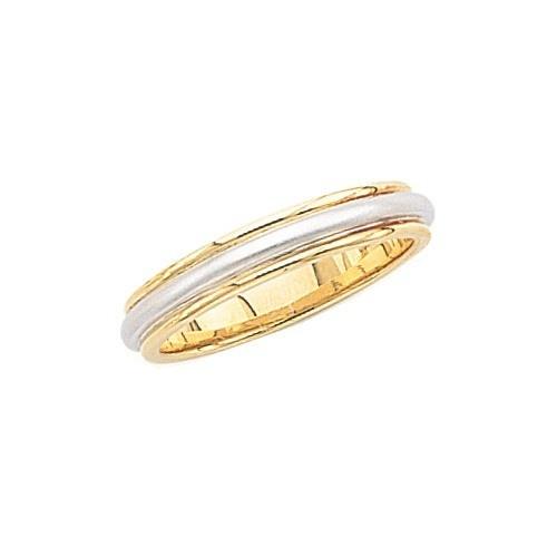 14K 2-Tone Gold Wedding Band W/ Milgrain & Brushed Center 4 Mm