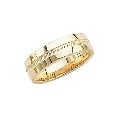 14K Yellow Gold Wedding Band W High Polish & Milgrain Center 7 Mm