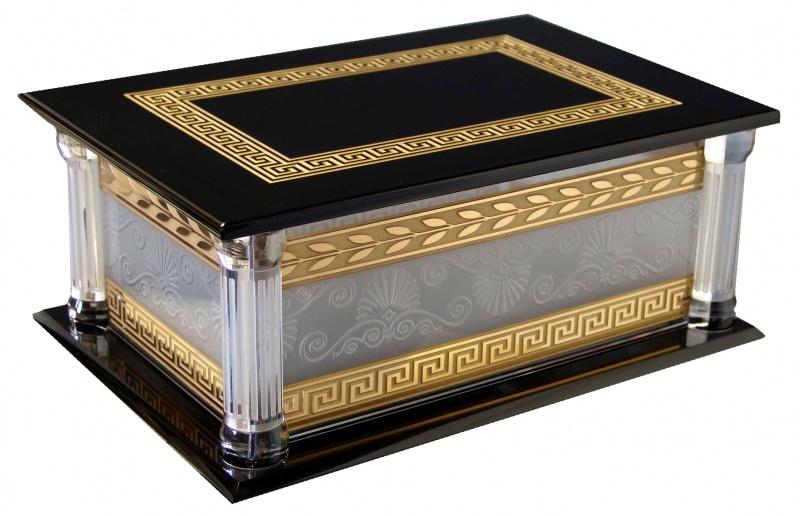"""Orbita Artisan """"Schlanser"""" Self-Programming 3-Watch Winder In Genuine Crystal & Gold Case"""