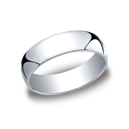 14K White Gold Comfort Fit Band 6 Mm