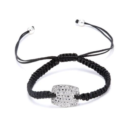 Silver And Cz Rectangle Macrame Bracelet