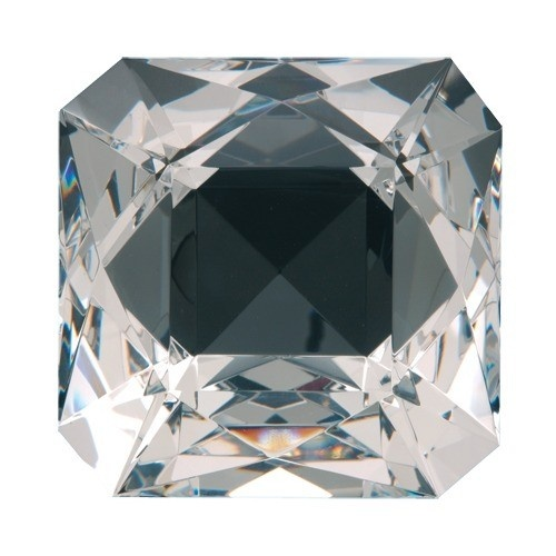 "Cushion-Shaped Clear Glass Crystals, 3.15"" L X 3.15"" w"