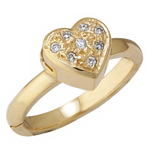 14K Yellow Gold Heart Shape Toe Ring W/ Diamond