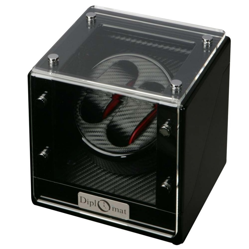 """Diplomat """"gothica"""" Double Watch Winder In Bold Black & Red"""