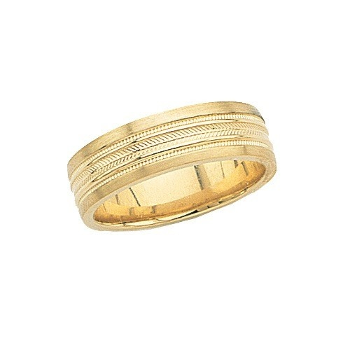 14K Yellow Wedding Band With Double Rope Design 7 Mm