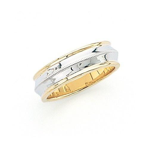 14K Gold 2-Tone Wedding Band W/ Milgrain & Raised Center 7 Mm