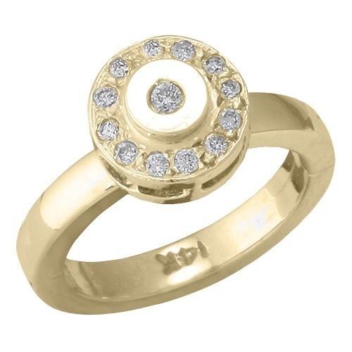 14K Yellow Gold Circle Shape W/ Diamond Toe Ring