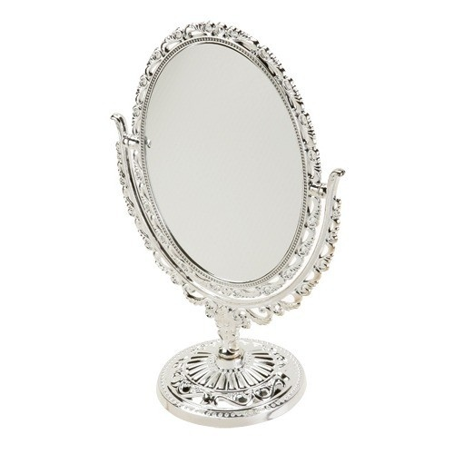 """Nickel-Plated Adjustable Oval Mirrors, 7"""" L X 10"""" h"""