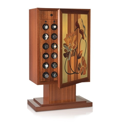 "Orbita Artisan ""Dalie"" Programmable 30-Watch Winder In Natural Wood Intarsia Case"