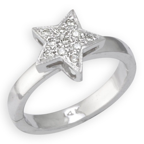 14K White Gold Star Shape Toe Ring W/ Diamond