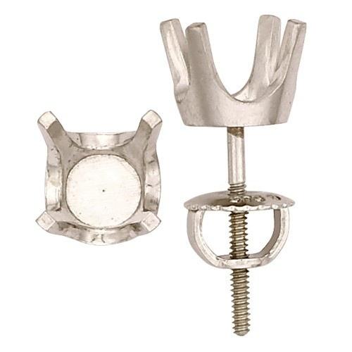 14K White 4-Prong Heavy Screw Earring