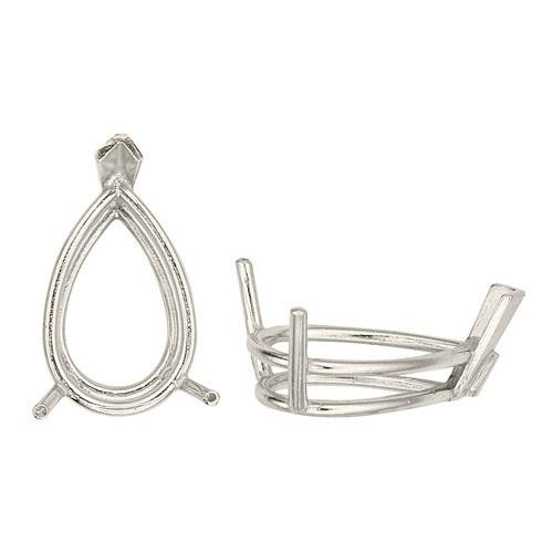 14K White Double Wire Pear Shape Setting W/ V-Prongs