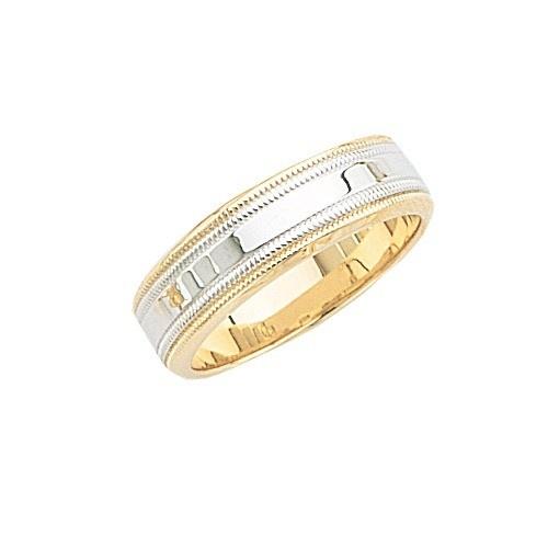 14K 2-Tone Gold Wedding Band W/ Light Milgrain 7 Mm