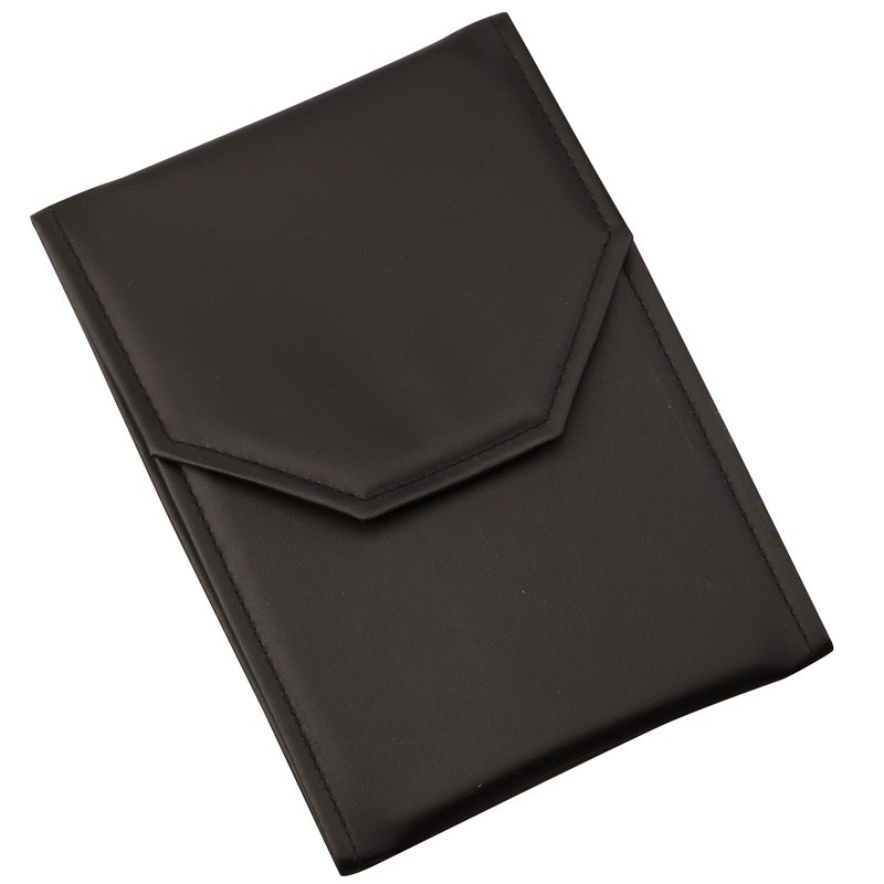 Travel Folders For Necklaces In Black Leatherette W/Black Interiors, 6 X 8.25 In