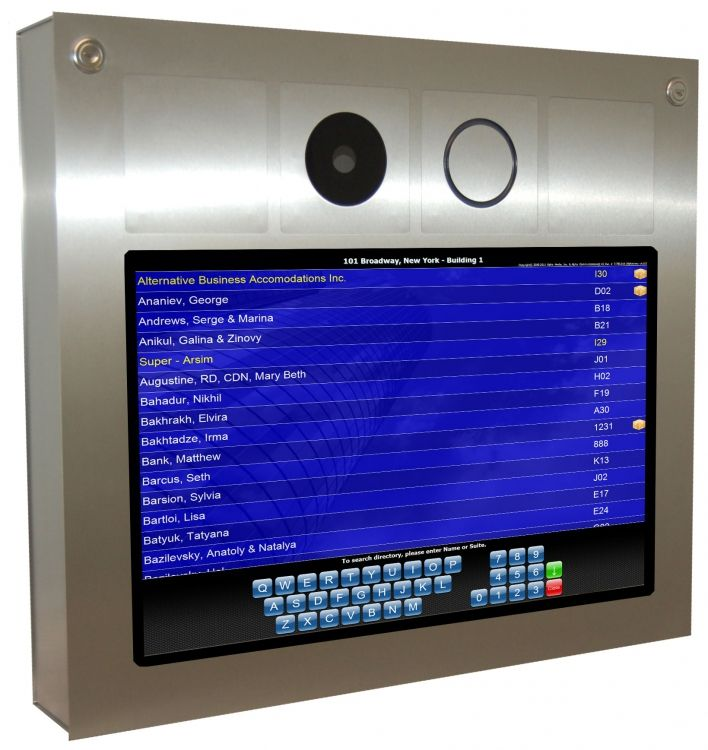 """Stainless Steel Freestanding Kiosk With 19.0"""" Touchscreen. Rugged, Vandal-resistant Construction. Small Footprint & Stylish Design.."""