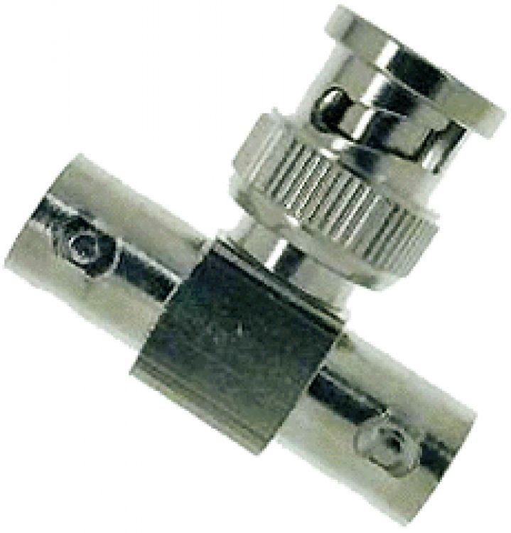 2-fem/1-male 'bnc' T Connector. 't' Shape With (2) Female And (1) Male Bnc Connectors.