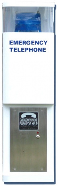 Call Stat-120v/landl-stro+beac. White Finish With Blue Beacon And Strobe--operates On Land Phoneline And 120vac Power.