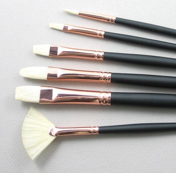 Trinity Brush Repin Set of 6 Hog Bristle Art Brushes