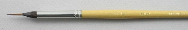 Trinity Brush Kolinsky Sable/Siberian Blue Squirrel Short Handle Reservoir Liner Brush # 6 (Made in Russia)
